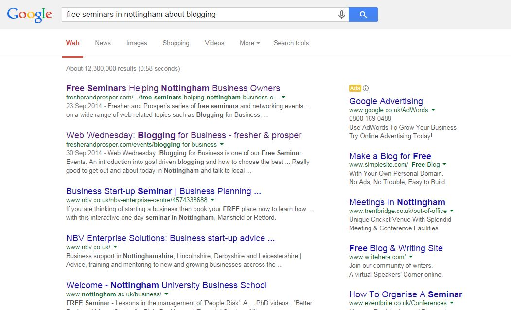 Screenshot of Fresher and Prosper on search engine results page